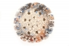 <br>2.5 inches diameter/ 31.8 cm diameter. Clay, glaze, paint.