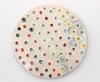"<br>9.75"" diameter/ 24.8 cm. Clay, glaze, paint."
