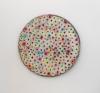 <br>9.75 inch diameter. Clay, glaze, paint.