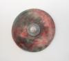 "<br>12 inch diameter + 1.5"". Clay, glaze, paint."