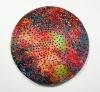 """<br>19 x 19 x 2.5"""" / 48.3 x 48.3 x 6.4 cm., Clay, glaze, paint."""