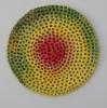 <br>10 inch (25.5 cm) diameter, 1 inch (2.5cm) depth. Clay, Glaze, Paint.</br>