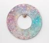 "<br>6.5"" diameter/ 16.5 cm., .75"" depth/ 2 cm., Clay, glaze, paint."